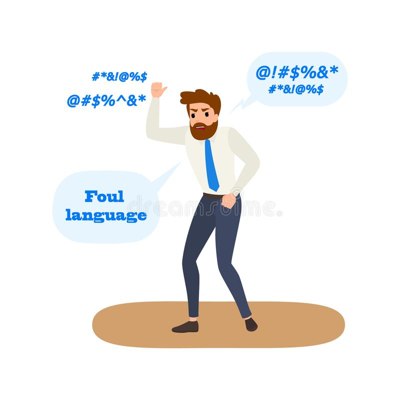 Foul language and swear words. Bad behavior. Foul language and swear words. Man with bad behavior speaking with dirty words. Flat vector illustration vector illustration