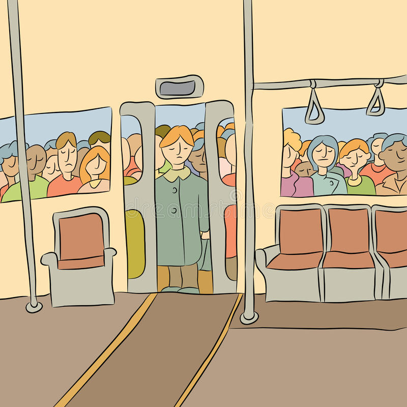 Foule attendant pour monter à bord du souterrain illustration stock
