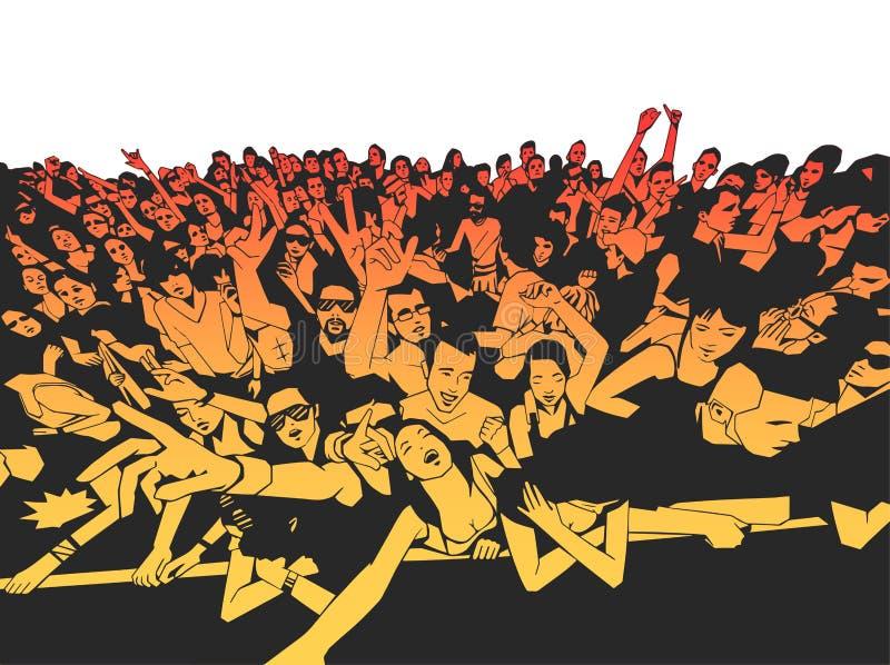 Foule de concert de festival de musique d'été, personnes de partie illustration de vecteur