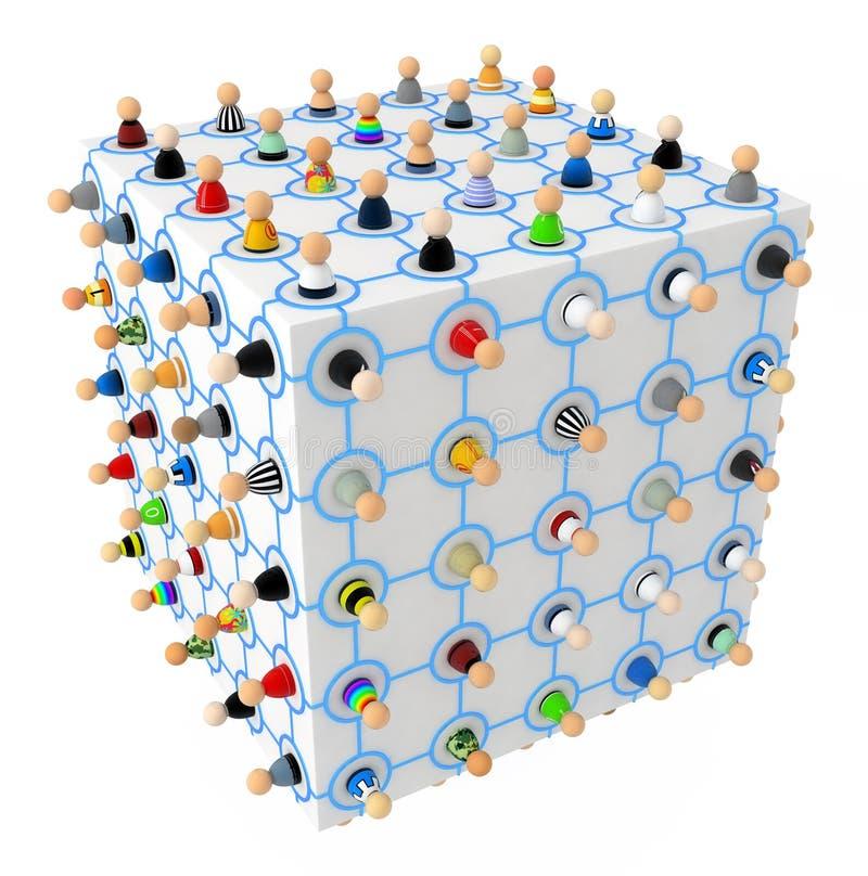 Foule de dessin animé, cube en tige illustration de vecteur