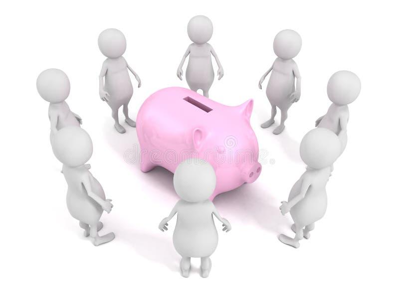 foule de l'homme 3d autour de banque porcine rose d'argent illustration libre de droits