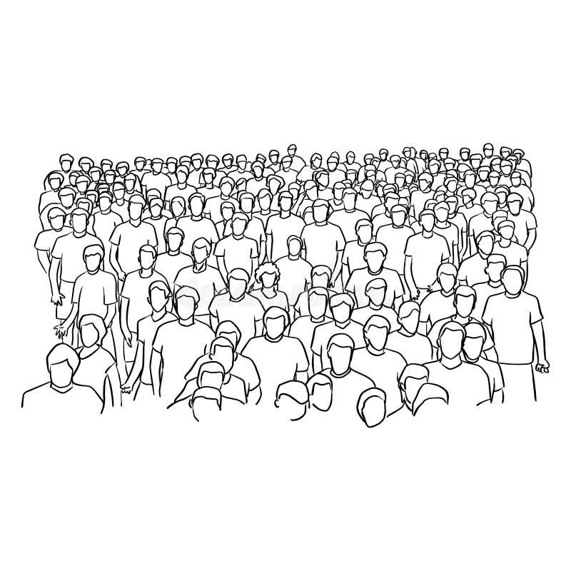 Foule de main debout de griffonnage de croquis d'illustration de vecteur de personnes illustration de vecteur