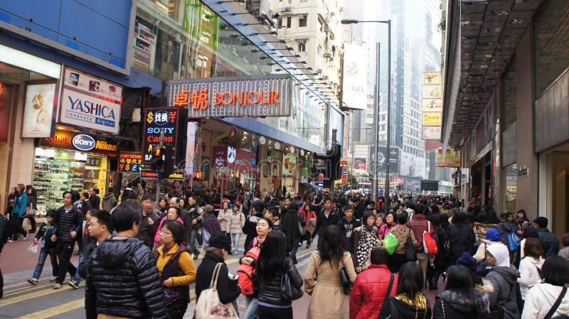 Foule de Noël à Hong Kong images libres de droits