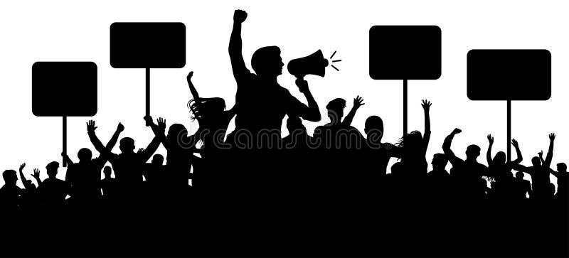 Foule de vecteur de silhouette de personnes Transparent, slogans de protestation Haut-parleur, haut-parleur, orateur, porte-parol illustration de vecteur
