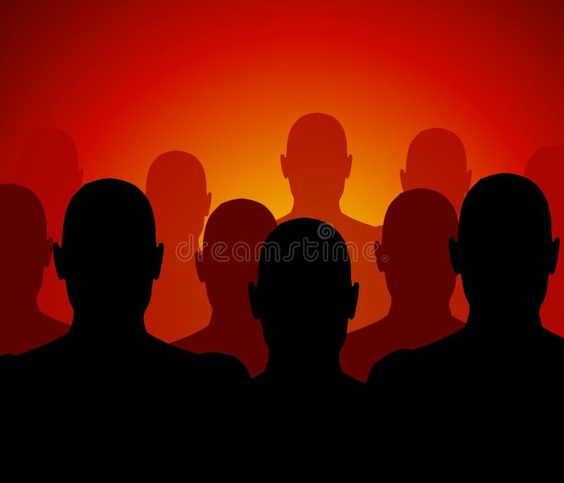 Foule des hommes dans l'obscurité illustration stock