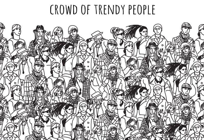 Foule des personnes à la mode noires et blanches illustration stock