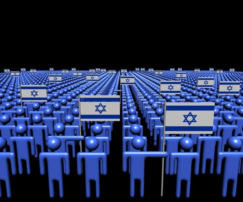 Foule des personnes abstraites avec l'illustration de beaucoup de drapeaux d'Israélien illustration libre de droits