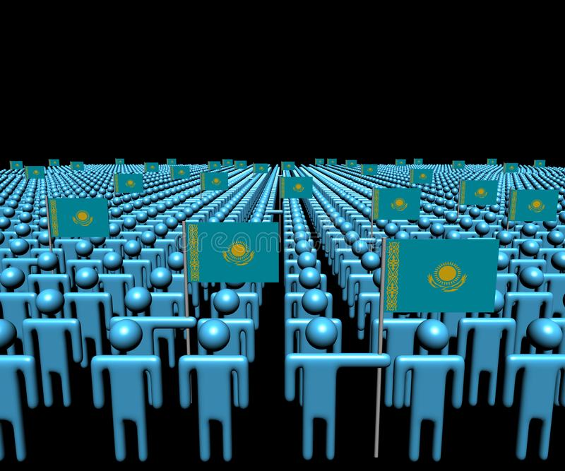 Foule des personnes abstraites avec l'illustration de beaucoup de drapeaux de Kazakhstan illustration de vecteur