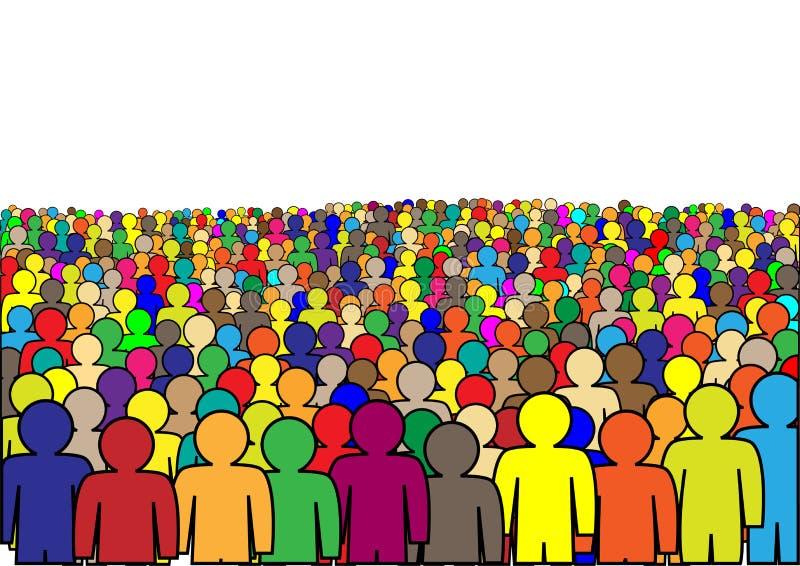 Foule des personnes abstraites multicolores d'isolement sur une illustration horizontale de vecteur de fond blanc illustration de vecteur