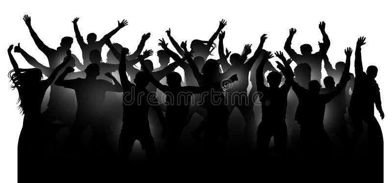 Foule des personnes gaies, dansant au concert de musique, partie, festival, club L'acclamation d'assistance remet  Applaudissemen illustration stock