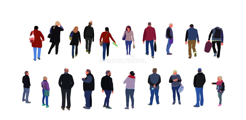 Foule des personnes marchant dans la rue habillée dans des vêtements de demi-saison Groupe d'hommes drôles, femmes dans des vêtem illustration de vecteur