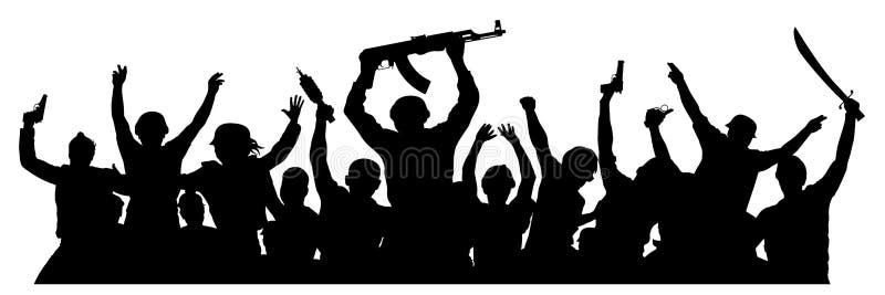 Foule des personnes militaires avec des armes Terroristes armés Silhouette militaire des soldats Illustration de vecteur illustration stock