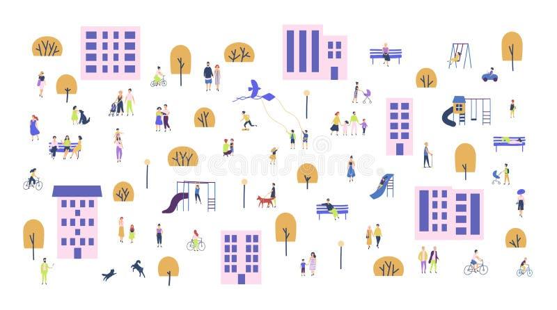Foule des personnes minuscules marchant avec des enfants ou des chiens, bicyclettes de monte, se reposant sur le banc dans des ba illustration stock