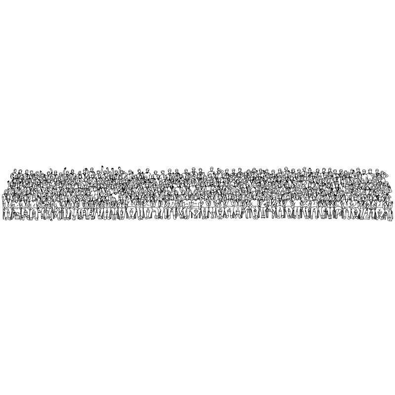 Foule des personnes reposant et tenant ensemble le griffonnage de croquis d'illustration de vecteur tiré par la main avec les lig illustration libre de droits