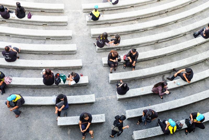 Foule des personnes s'asseyant en parc photographie stock libre de droits