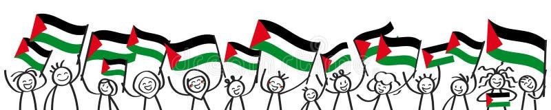 Foule encourageante des chiffres de bâton avec les drapeaux nationaux palestiniens, défenseurs de sourire de la Palestine, fans d illustration libre de droits