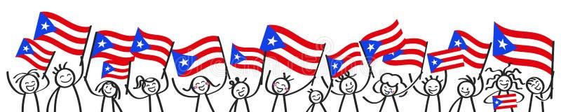 Foule encourageante des chiffres heureux de bâton avec les drapeaux nationaux portoricains, défenseurs de sourire de Puerto Rico, illustration de vecteur