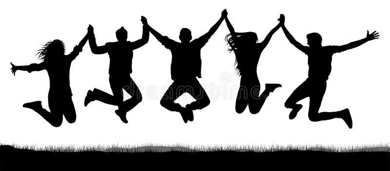 Foule gaie des amis sautant, tenant des mains illustration de vecteur