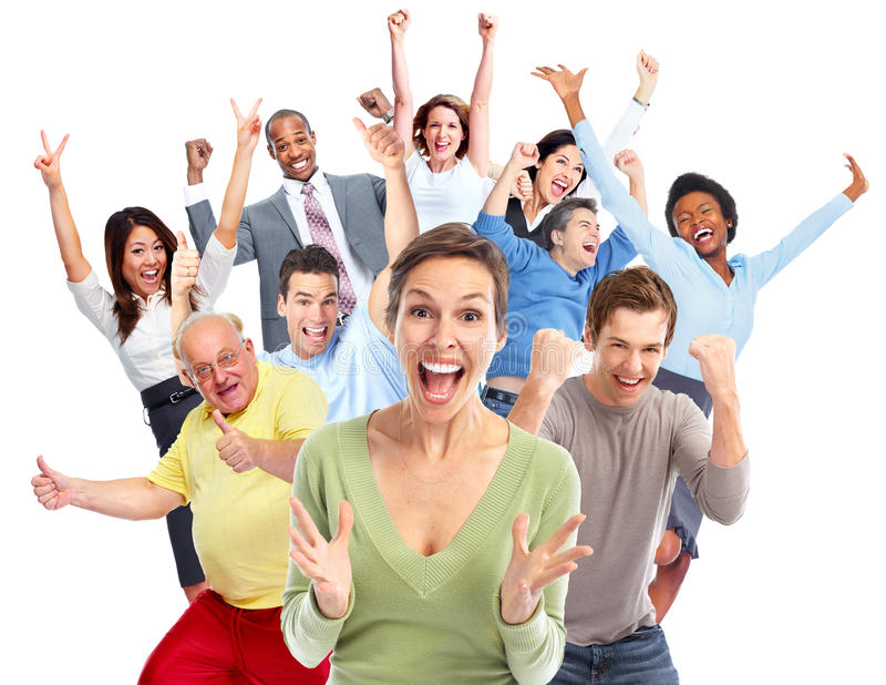 Foule heureuse de personnes photos libres de droits