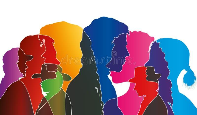 Foule parlante de vecteur d'isolement Dialogue entre les personnes Profils colorés de silhouette Vecteur d'exposition multiple illustration de vecteur