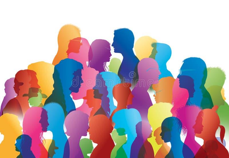 Foule parlante Dialogue entre les personnes Parler de gens Profils colorés de silhouette illustration de vecteur