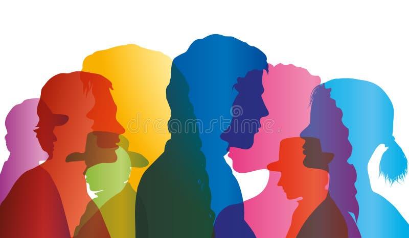 Foule parlante Dialogue entre les personnes Profils colorés de silhouette Vecteur d'exposition multiple illustration de vecteur