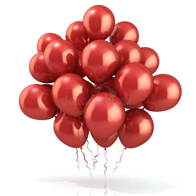 Foule rouge de ballons illustration libre de droits