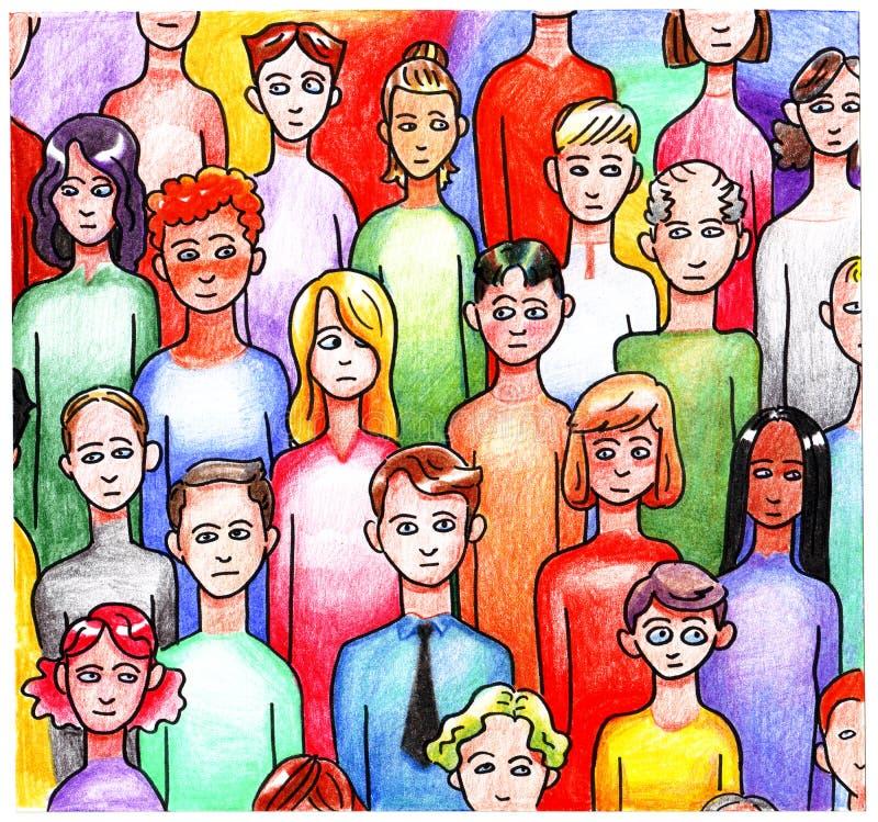 Foule tirée par la main de dessin coloré lumineux multicolore d'une foule de divers hommes de personnes et femmes de différentes  illustration stock