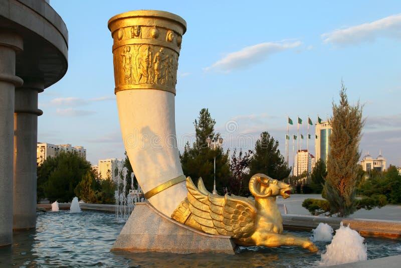 Founain complex in het park. Turkmenistan. royalty-vrije stock afbeeldingen