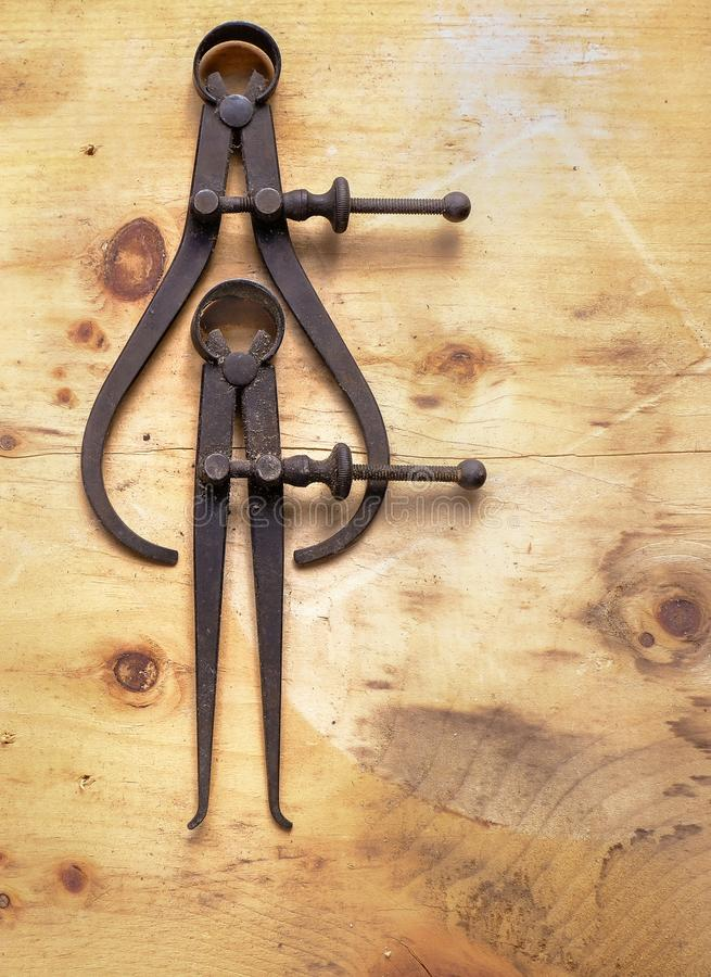A Pair of Antique Calipers stock images