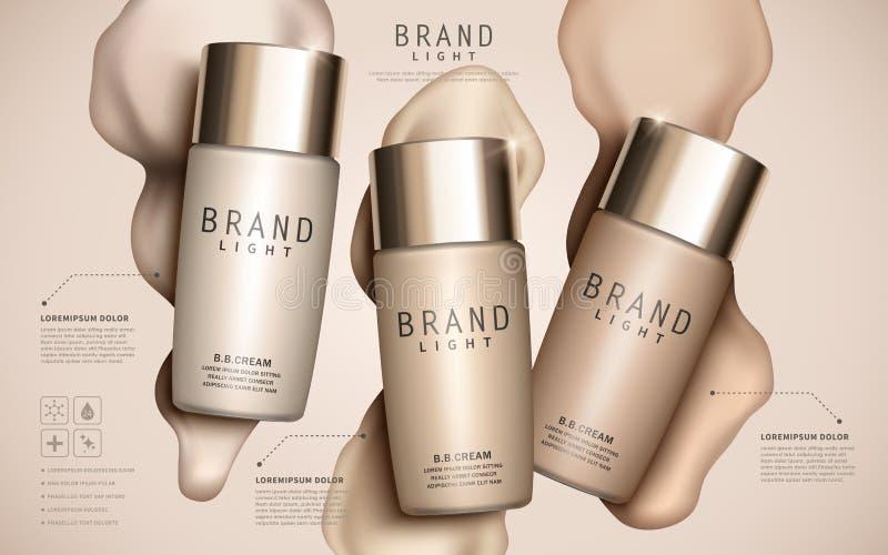 Foundation ads template. Makeup mockup for ads or magazine liquid foundation background. 3D illustration royalty free illustration