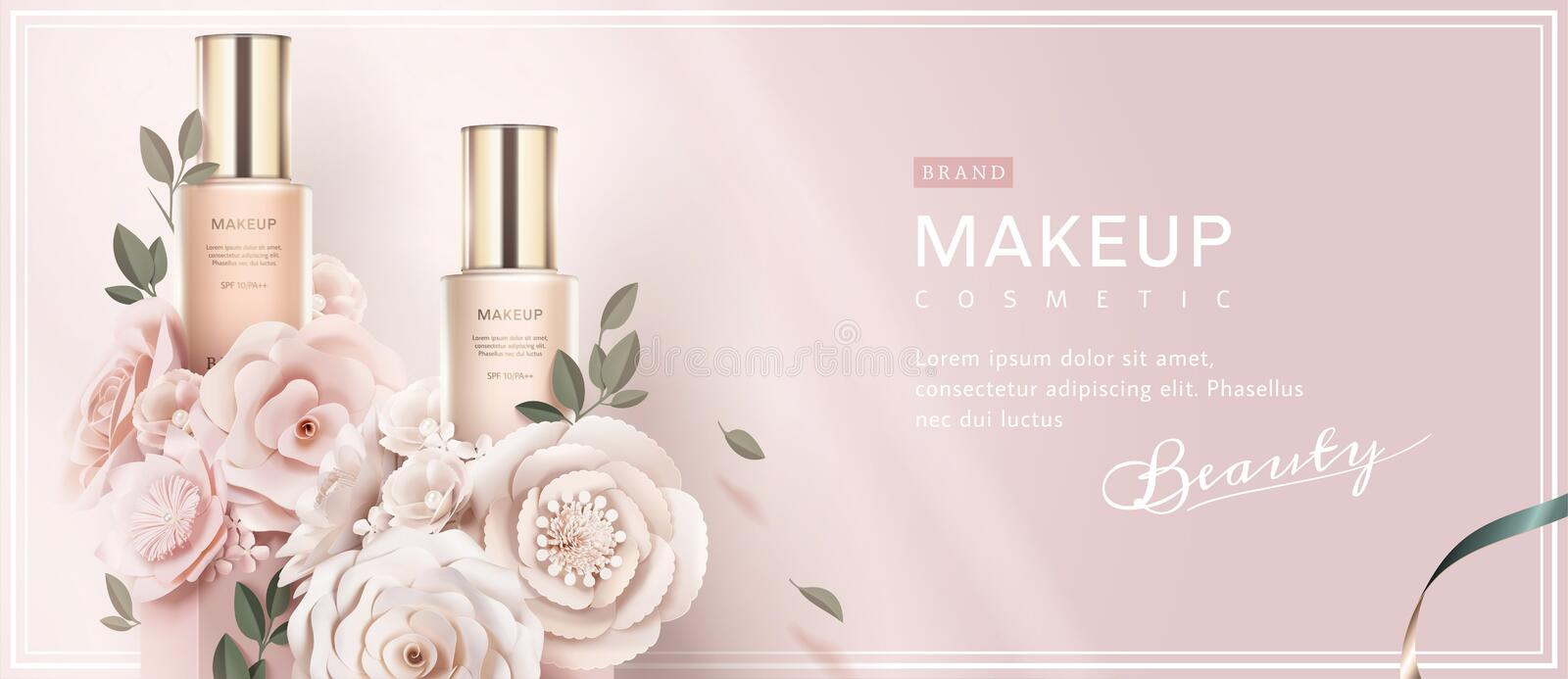 Foundation banner ads. With paper art flowers on light pink background in 3d illustration stock illustration
