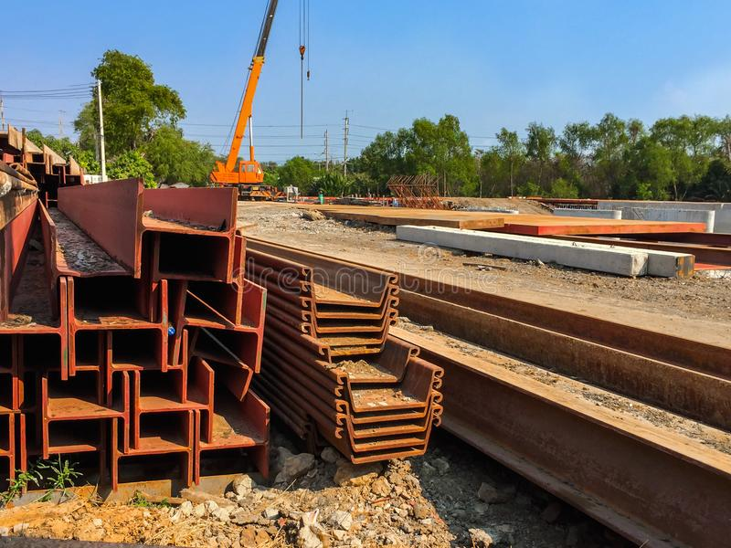 Foundation, being constructed at construction site royalty free stock photo