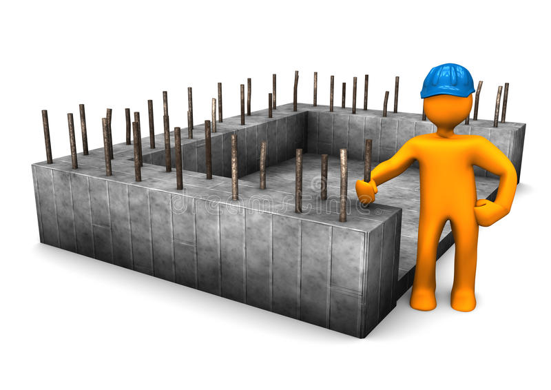 Foundation Civil Engineer. Civil engineer with the foundation of house vector illustration