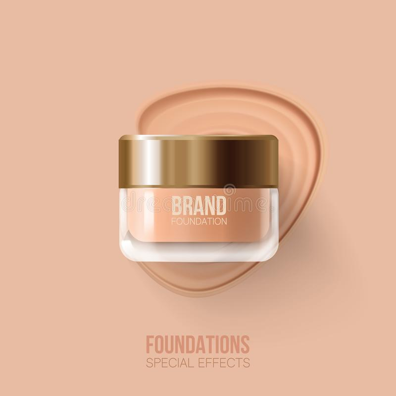 Foundation container mockup, cosmetic bottle package. Beige concealer strokes.Foundation beige liquid .Cosmetic make up. vector illustration