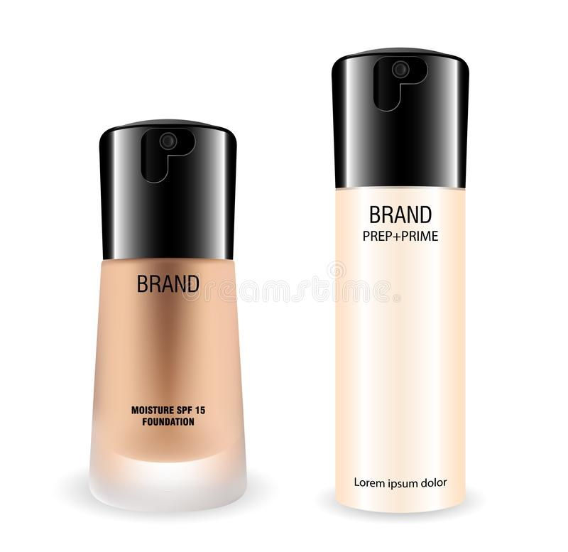 Foundation cosmetics bottle set. 3d vector royalty free illustration