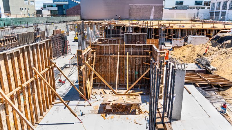 Foundation level of a future skyscraper at a construction site in SoMa district in San Francisco, California royalty free stock photography