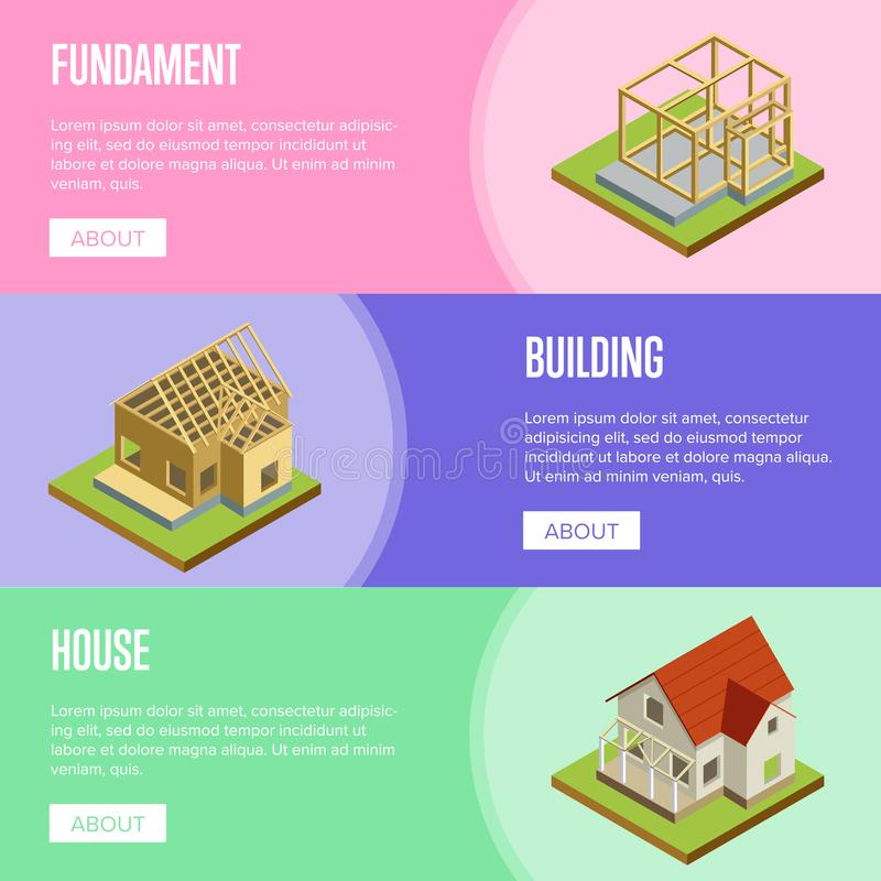 Real estate engineering isometric 3d concept. Foundation pouring, construction of walls, build siding, roof installation isometric illustration. House vector illustration