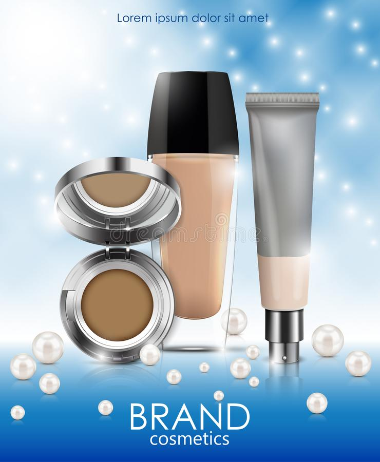 Foundation, powder cosmetic products containers for brand cosmetics vector illustration stock illustration