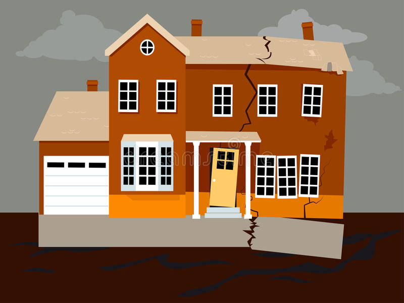 Foundation problem. House falling apart because of a foundation failure, EPS 8 vector illustration vector illustration
