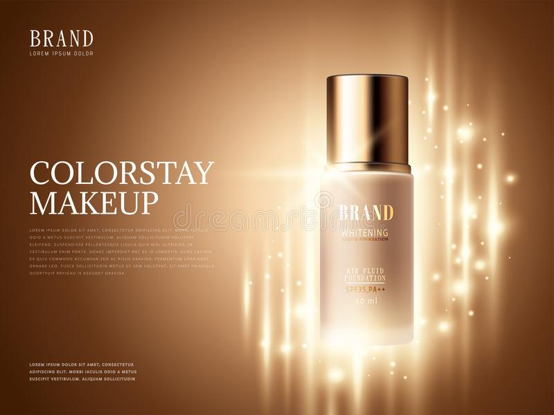 Foundation product ads. Makeup essential product with glittering elements in 3d illustration stock illustration