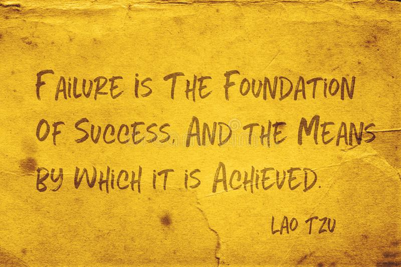 Foundation of success Lao Tzu. Failure is the foundation of success, and the means by which it is achieved - ancient Chinese philosopher Lao Tzu quote printed on royalty free illustration