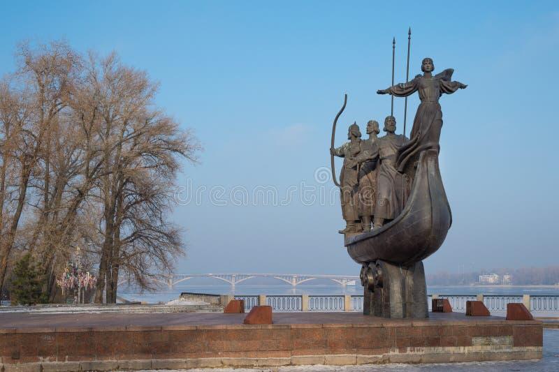 Founders of Kiev monument stock photos
