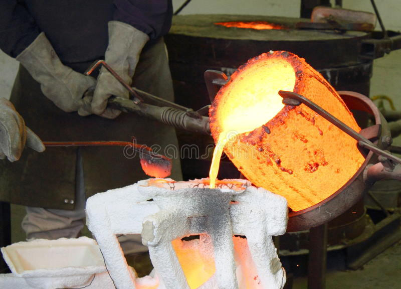 Foundry Molten Metal Pour royalty free stock photo