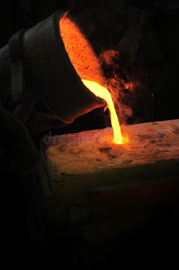 Foundry - molten metal poured from ladle into moul. D - lost wax casting stock image