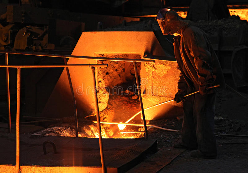 Foundry With Red Hot Melting Pig Iron Stock Photography