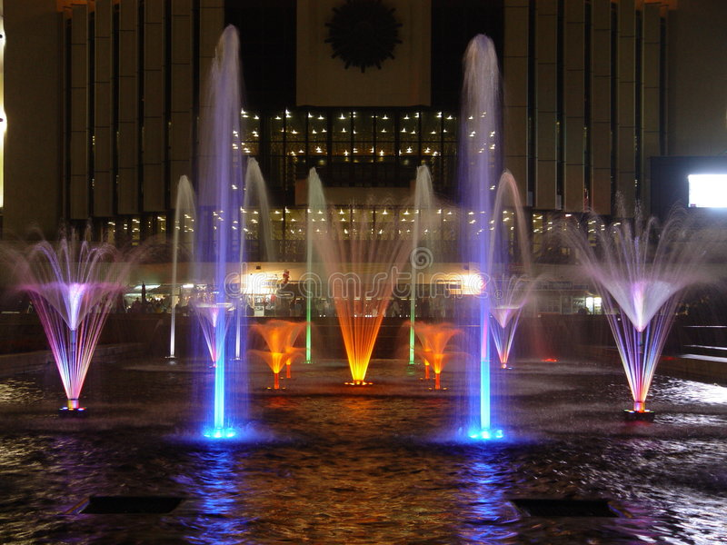 Fountain. Lighting fountains in the night - Sofia city royalty free stock photos