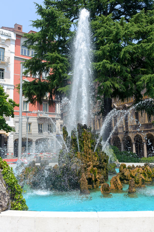Fountain. Old Fountain on the embankment in the center of Lugano royalty free stock photography