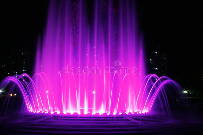 Download Fountain stock photo. Image of water, color, night, apartments - 3063376