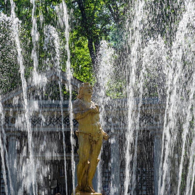 Fountain `Adam` in Peterhof, Sankt Petersburgm, Russia stock image